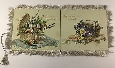Antique 1881 Louis Prang Christmas Card Silk Edging Chromolithography