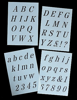 ITALIC ALPHABET / LETTERS STENCIL style on 4xA4 Sheets 40mm CAP HEIGHT Alpha 3