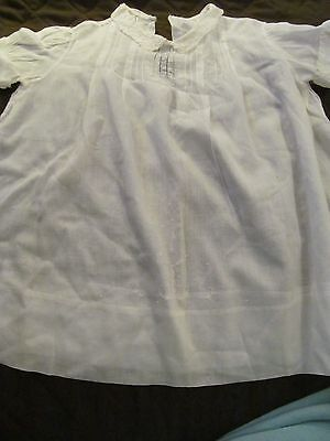 Vintage White Embroidered Tucked w/ Collar   Baby or Doll Dress