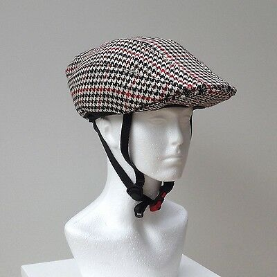 Bicycle  Helmet Cover, Chic-Helmet, Wool mix houndstooth pattern.