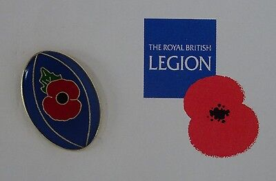 Official Royal British Legion Rugby Ball Poppy Pin Badge  Poppy Appeal 6 Nations