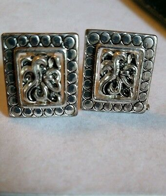 Silver color square clip on earrings