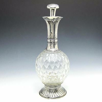 Antique Rococo French 950 Sterling Silver & Cut Crystal Claret Jug Type Decanter