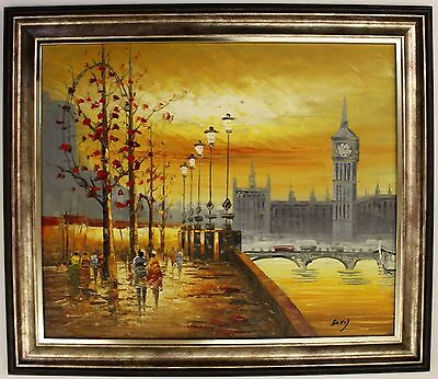 Small Hand Painted Oil Painting on Canvas,Framed Cityscape Sunset London Vintage
