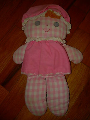 Vintage 1975 Fisher Price Lolly Dolly Rattle Doll Pink Gingham #420