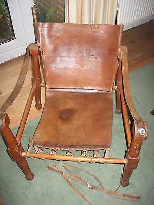 Campaign Officers Leather Arm Chair Folding Chair Seat Vintage