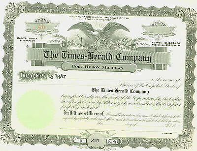 The Times-Herald Company – Port Huron, Michigan Unissued Stock Certificate
