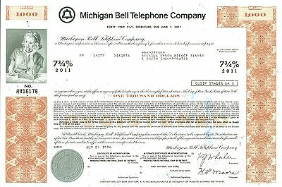 Michigan Bell Telephone Company Fourty Year Debenture Certificate Due June 1,11