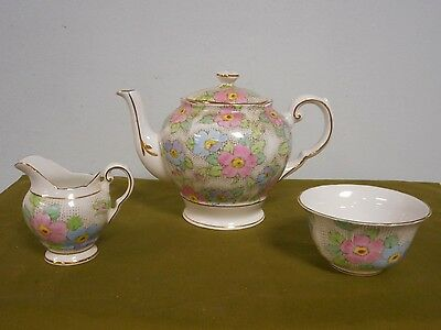 Rare Tuscan C8325 Teapot Cream Sugar Set Pink Blue Flowers Gold Trim Bone China