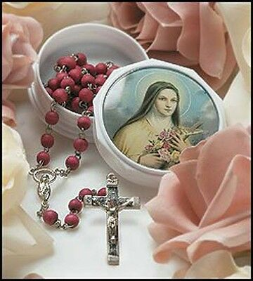St. Therese Rose Petal Scented Rosary in Case NEW SKU MS298