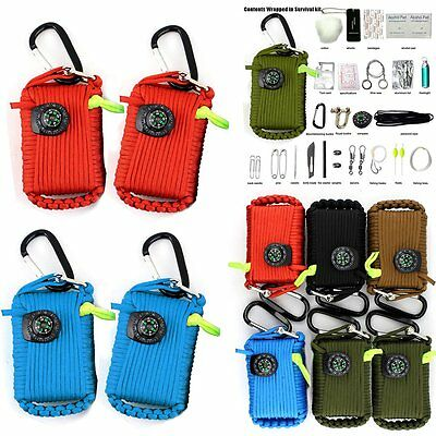 Outdoor 550 Paracord Grenade Survival Kit 29 Tools EDC Gear for Camping Fishing