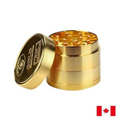 Gold Zinc Alloy 4 Layers 50mm Tobacco Herb Grinder w/ Scraper
