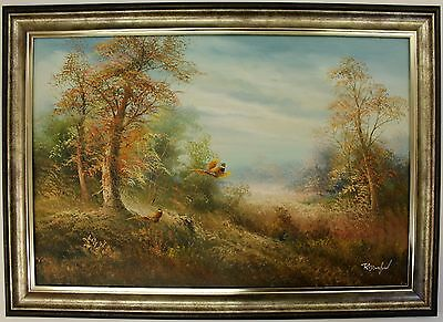 Small Hand Painted Oil Painting on Canvas,Framed Landscape Forest Pheasants