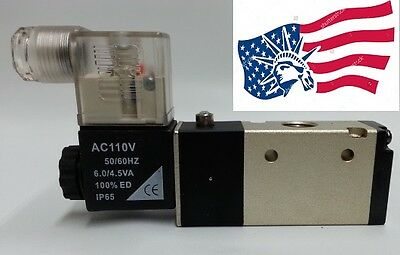 """New 1/4"""" NPT Pneumatic 3 way 2 position Electrical Solenoid Air Valve 110VAC"""