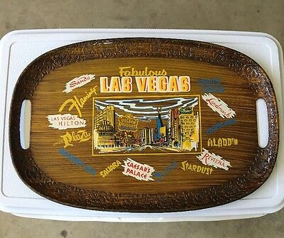 Vintage Las Vegas Nevada Serving Tray W/14 Different Casinos 1960's