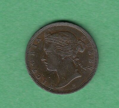 1872-H Straits Settlements 1/2 Cent Coin - Queen Victoria - VF