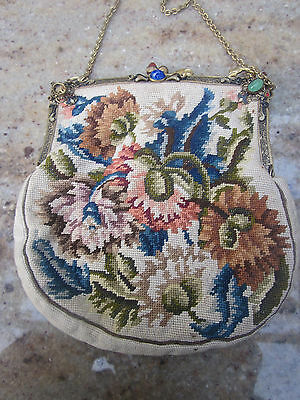 Stunning ,Edwardian , tapestry evening bag , in need a little repair .