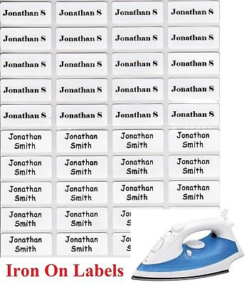 Small White Iron On Personalised Name Clothing Labels (22*09mm) - Warm Wash