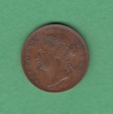 1874-H Straits Settlements 1 Cent Coin - Queen Victoria - EF+