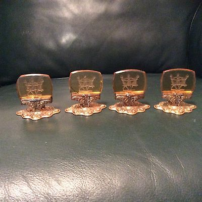 Set Of 4 Art Deco Czech Glass Intaglio Place Card Holders The 3 Dancing Graces