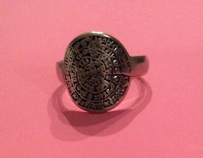 Solid Silver Greek Phaistos Ring Size P