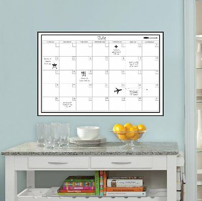 Wall Peel Stick Dry Erase White Board Monthly Calendar Planner, Marker Included