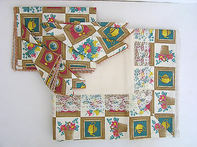 Tablecloth & 6 Napkins 100% Cotton Embroidered Teapots Flower Pots Lace Italy