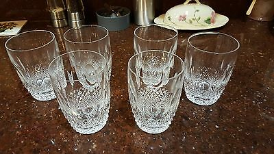 """6 WATERFORD CRYSTAL COLLEEN 10 oz FLAT TUMBLERS  4.25"""" Old Mark - IRELAND Mint"""