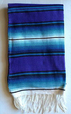 "Mexican Serape Blanket AZTEC Blue,Black & White falsa southwest XLARGE 82"" X 62"""