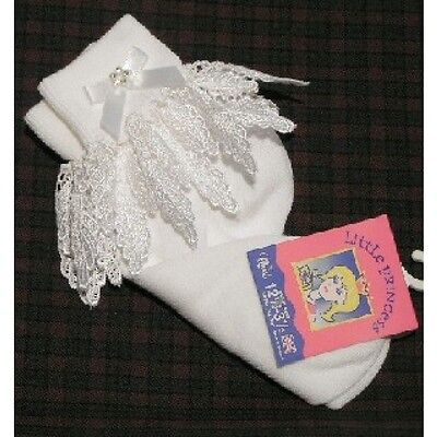 Gorgeous Baby Girl White Frilly Leaf Socks with Diamante &bow/Size 0-0 to 12