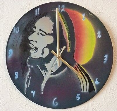 BOB MARLEY inspired record wall clock..popart..spray paint art..recycled