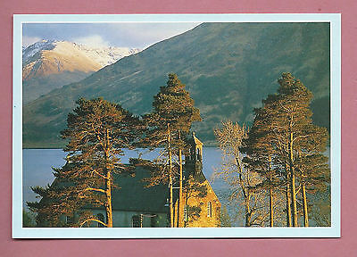 Unused Oversized 1990s Postcard - Evening Light Over Kintail Church, Loch Duich