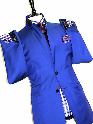 Bnwt Mens Ted Baker Endurance London Petrol Blue Tailor-Made Suit 42L W36