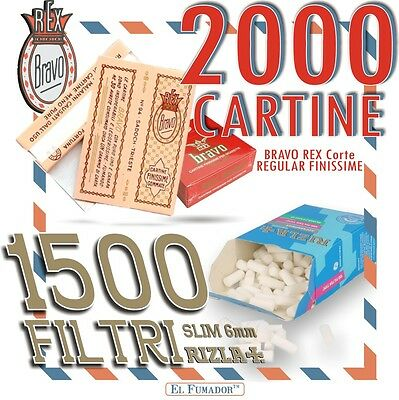 2000 CARTINE BRAVO REX CORTE REGULAR FINISSIME + 1500 FILTRI RIZLA SLIM 6 mm