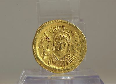 Byzantine Gold Solidus Carthage Coin of Emperor Justinian the Great 582 AD RARE