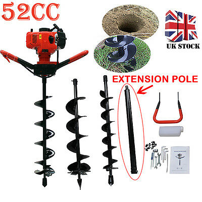 52CC Petrol Earth fence post auger 2HP Hole Borer Fence Ground Drill 3 Bits