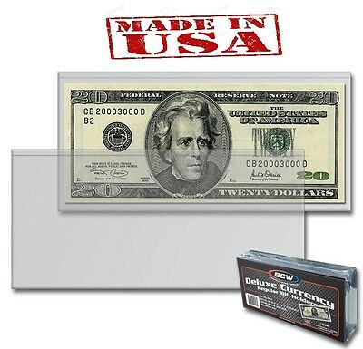 1 PACK of 50 BCW DELUXE CURRENCY REGULAR BILL HOLDERS  6 3/8 x 2 7/8 (#694)