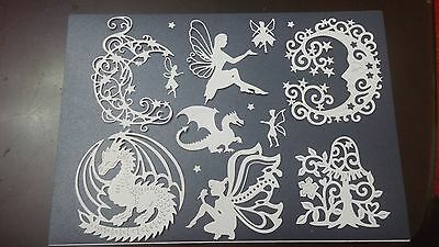 Mixed Dragon Fairy Moon Die Cuts Toppers Cards
