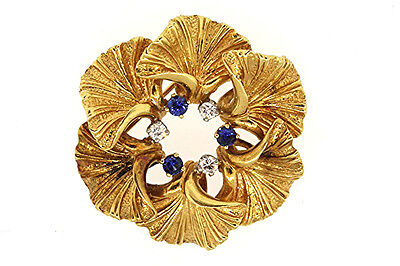 Vintage 18k Yellow Gold Flower Circle Wreath Diamond Blue Sapphire Pin Brooch