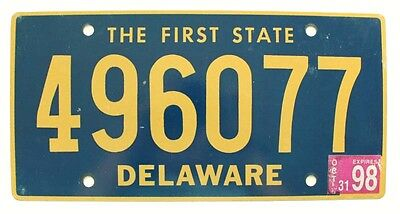 "Delaware October 1998 ""The First State"" License Plate, Very Good, Natural"