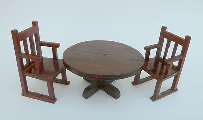 Vintage dolls house table with 2 carver chairs.