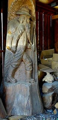 "WOW! Over 6'5"" tall CEDAR WOOD HAND CARVED BEARDED EUROPEAN HIKING MAN CARVING"