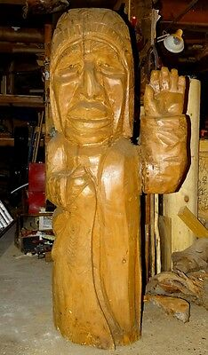 Indian Chief carved in Cedar