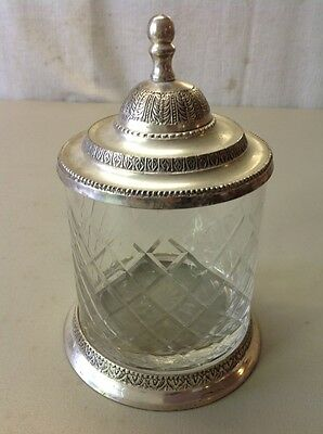 FREE SHIPPING!! Vintage Antique EAPG Glass Humidor Jar Silverplate