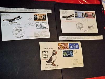 GUERNSEY-2 GOOD UNUSUAL 1st FLIGHT COVERS-POLAR FLIGHT-MOSCOW-ETC+PUFFIN COVER