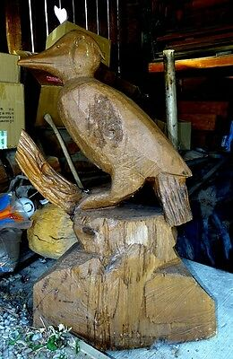 "HAND CARVED CEDAR WOOD PERCHED BIRD CARVING- 45"" tall"