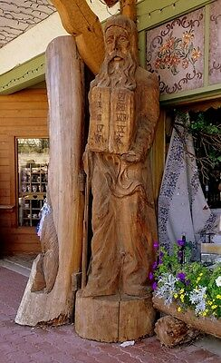 "UNIQUE HAND CARVED MOSES CEDAR WOOD RELGIOUS TABLET 10 COMMANDMENTS-7'7"" tall"
