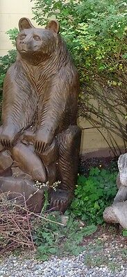 Amazing Detail! Hand Carved Tamarack Larch Wood Sitting Brown Bear Carving