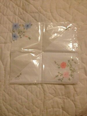 pair of ladies floral embroidered hankies cotton