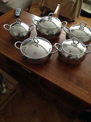 Tomby 10 Piece Stainless Steel Cookware Set 5 Pans 5 Lids New RRP£128.